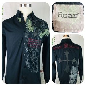 ROAR Men's TRUE WISDOM Studded L/S Shirt ! EUC